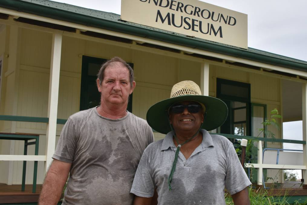 WORKS: Volunteers Brian Adamson and Aubrey Liyanage assist with works at the Underground Hospital and Museum. Photo: Samantha Campbell.