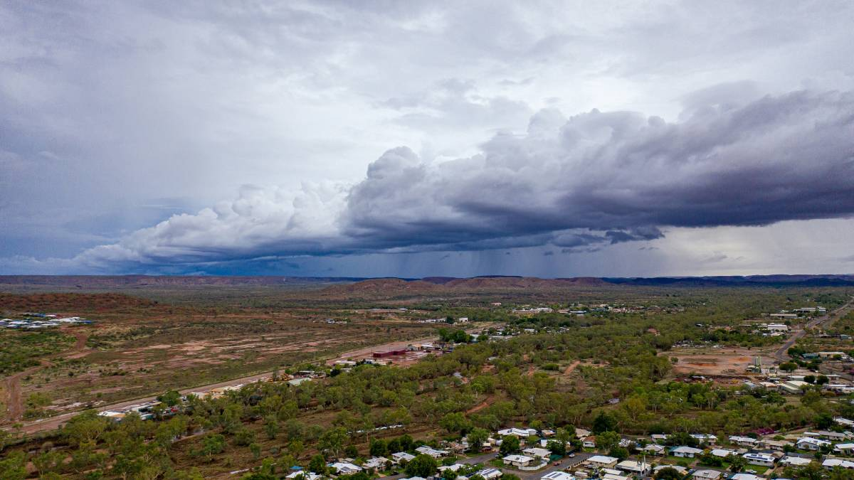 RAIN: A large cloud bank rolled across the North West, associated with a tropical low that bought up to 100mm overnight. Photo: Kerry Brisbane.