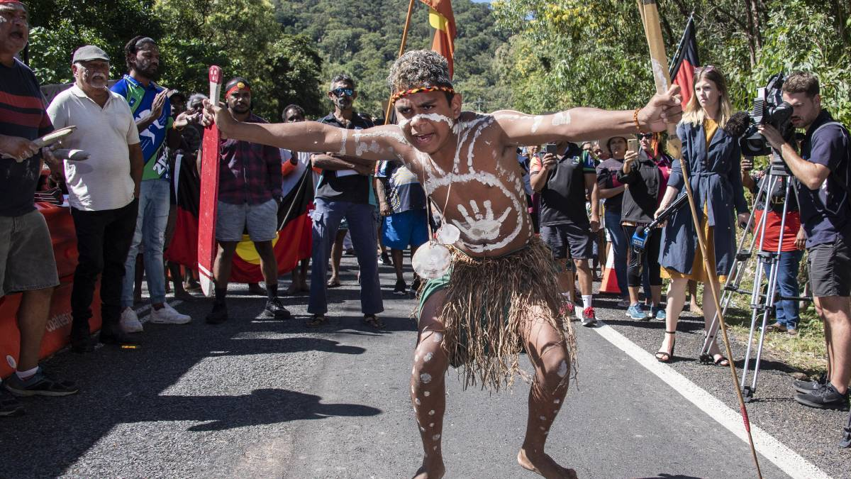 Photo of the Yarrabah protest: Brian Cassey