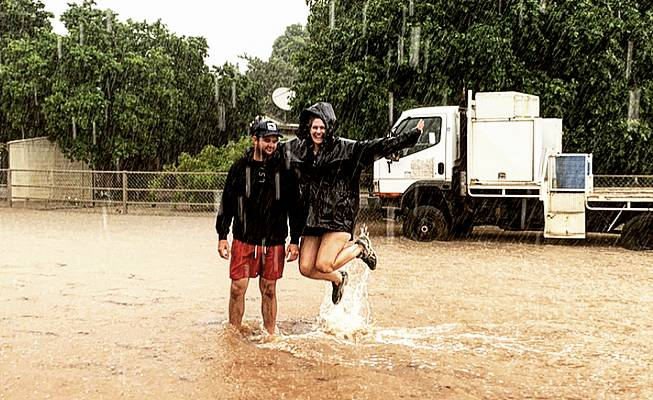 WELCOME RAIN: Jack Kidd and Katy Scott at Tabletop Station, in the Croydon Shire, which has received disaster relief funding. Photo - Jane Kidd.